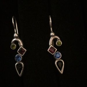 Jewelry - Silver earring with green, blue, black and purple